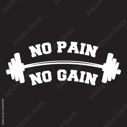 No Pain No Gain Lettering Vintage Typographic Poster Motivational