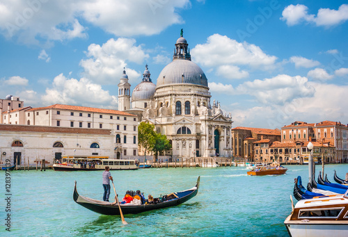 Canvas Prints Venice Gondola on Canal Grande with Basilica di Santa Maria della Salute, Venice, Italy