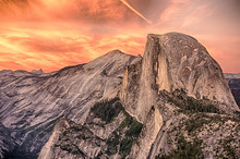 Dramatic Sunset Over Half Dome Viewed From Glacier Point In Yosemite National Park California