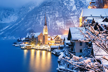 Winter View Of Hallstatt, Traditional Austrian Wood Village, UNESCO World Culture Heritage Site. Christmas View.