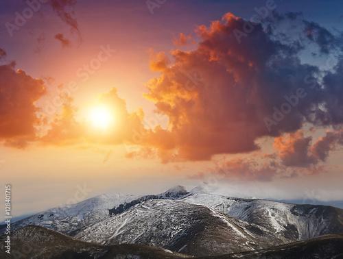 Deurstickers Canarische Eilanden Landscape of fantastic sunset in the winter mountains . Dramatic evening sky.