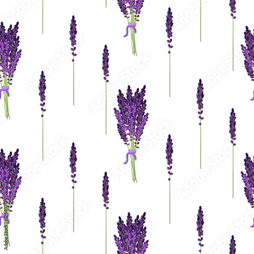 Lavender seamless vector pattern Canvas