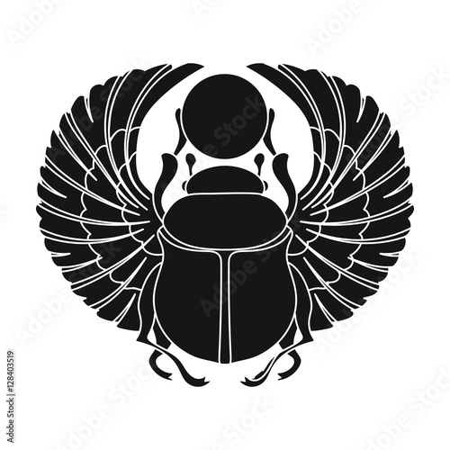 Cuadros en Lienzo Scarab icon in black style isolated on white background