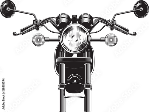 Chopper motorcycle front side. Poster