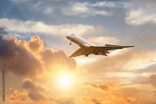 Airplane landing at sunrise Canvas