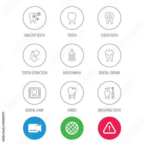 Tooth, dental crown and mouthwash icons  Caries, tooth