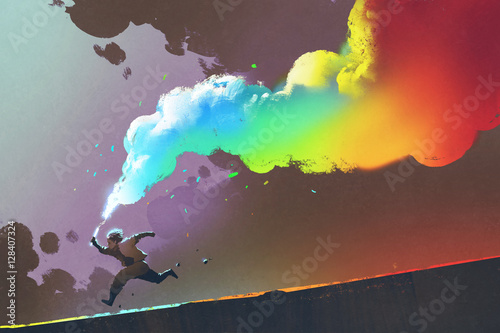 Foto op Aluminium Grandfailure boy running and holding up colorful smoke flare on dark background,illustration painting