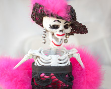 Skeleton Figurine In Pink & Black Dress On Day Of The Dead