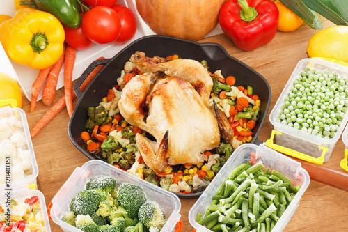 Frozen Vegetables And Fried Chicken Food Buy This Stock Photo And