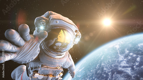 Astronaut in outer space, 3d render Fotobehang