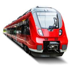 Moderni brzi vlak izoliran na bijeloj boji