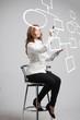canvas print picture - Woman drawing flowchart, business process concept