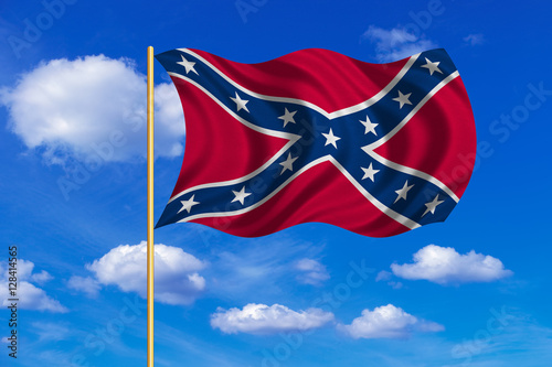 Confederate Rebel Flag Wavy On Blue Sky Background Buy This Stock