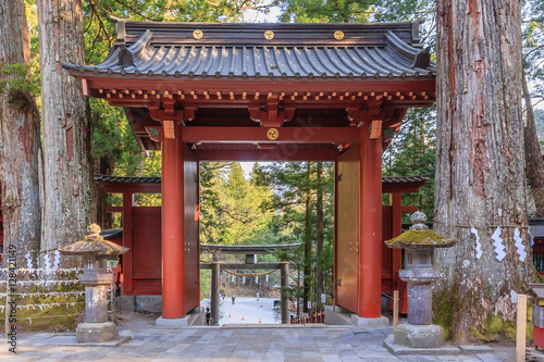 Fotografia Nikko Futarasan shrine located between Tosho-gu shrine and Taiyu-in Mausoleum in