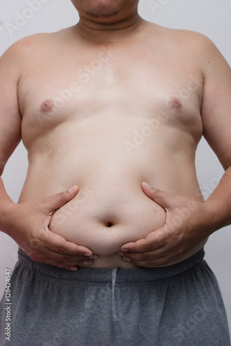 Fotografia, Obraz  Fat man with a big belly,