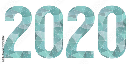 Fotografia  2020 Happy New Year vector blue low poly symbol isolated