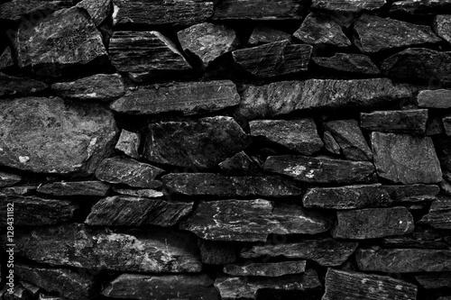 Fotografie, Obraz  Black and white Stone wall background.