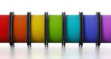 3D Printer Filaments. 3D Illustration.