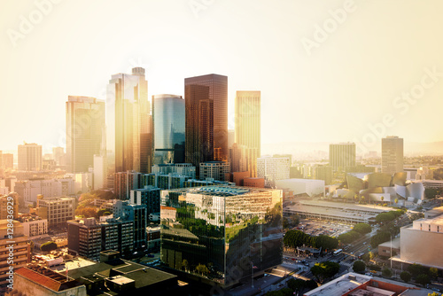 Aluminium Prints Los Angeles Los Angeles, California, USA downtown cityscape at sunset