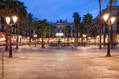 Foto op Canvas Barcelona Placa Reial in Barcelona at Night
