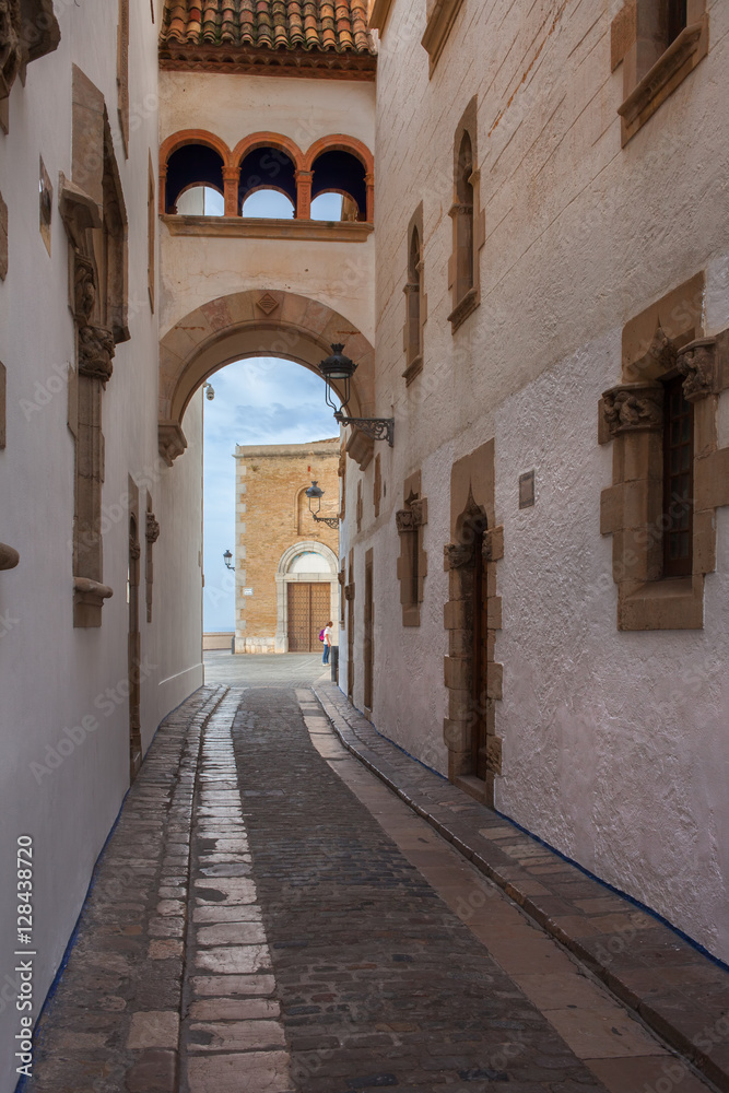 Narrow Street in Old Town of Sitges