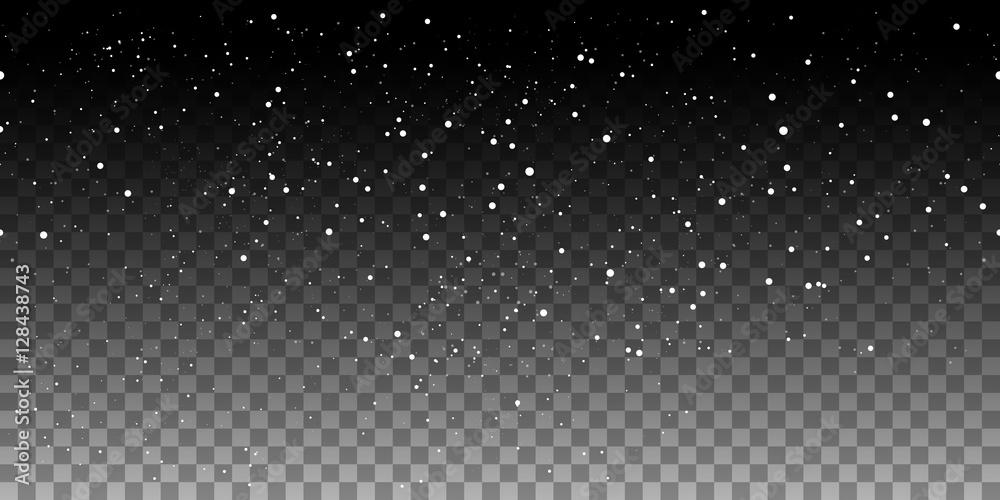 Fototapety, obrazy: Snow horizontal seamless pattern on transparent background. Vector illustration