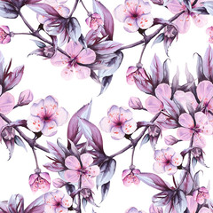 Background branch with pink cherry flowers. Seamless pattern. watercolor illustration.