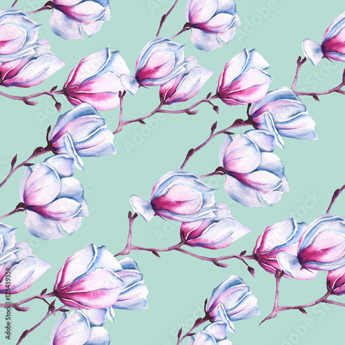 Background with Branch of pink Magnolia. Seamless pattern. watercolor illustration. - 128439358