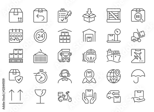 Fotografía  delivery and logistics thin line icons