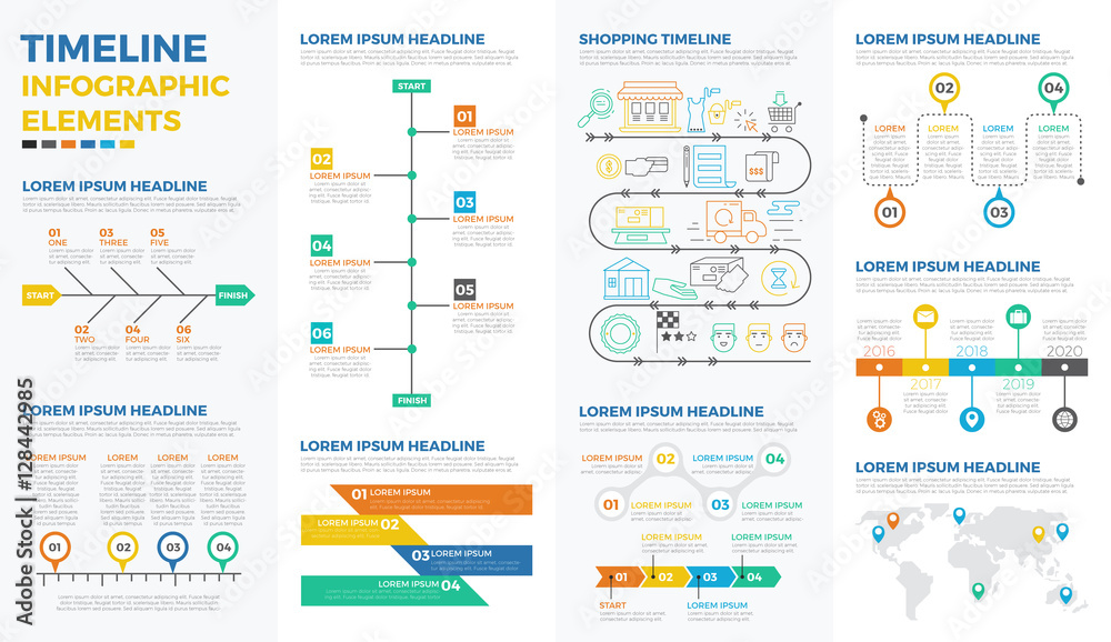 Photo  Business timeline infographic elements