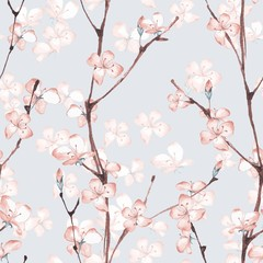 Fototapeta Do łazienki Blossom. Watercolor seamless floral pattern. Hand drawn background 7