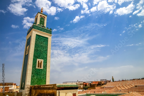 Green minaret of the Great Mosque in Meknes Canvas Print