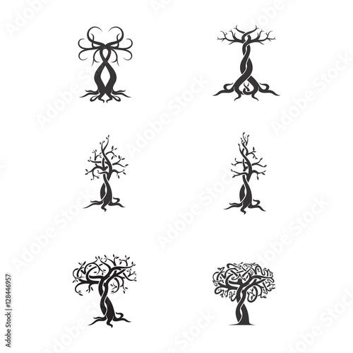 set of vector logos tree tattoo