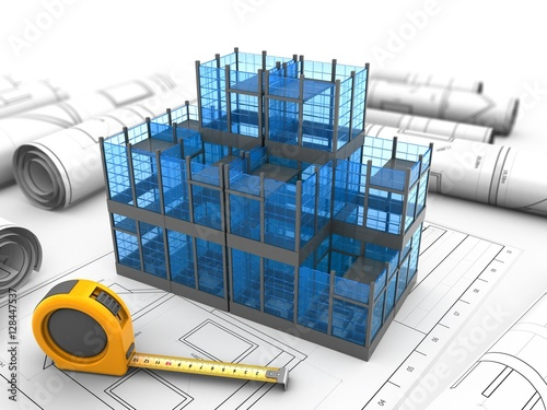 3d Illustration Of Glass Building Over Drawings Background With