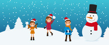 Merry Christmas. Cute Kids And Snowman Playing Snowball In Winter Season. Christmas And Happy New Year Banner. Cartoon Vector Illustration