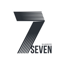 Black And White Number Seven Logo Template Formed By Repeating Lines, Vector Illustration Isolated On White Background. Black And White Number Seven Graphic Logotype