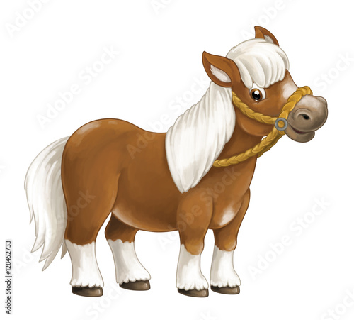 Fototapeta Cartoon happy horse is standing smiling and looking - artistic style - isolated