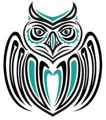Große Eule im Haida Tattoo Style. Indianer.