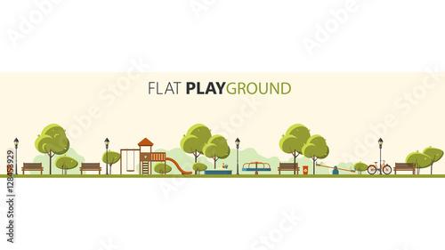 Fotografia  Public park. Vector Flat illustration. Easy to make pattern.