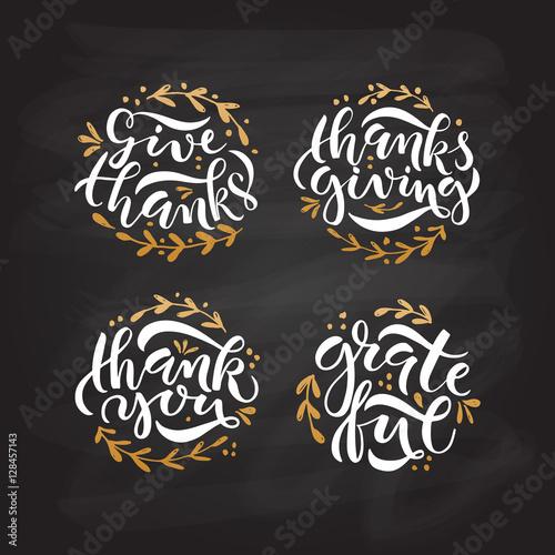 Fotografija  Hand drawn Thanksgiving typography poster set