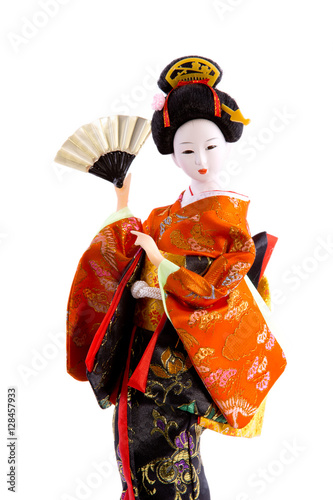 In de dag Indiërs doll Japanese woman in traditional clothes