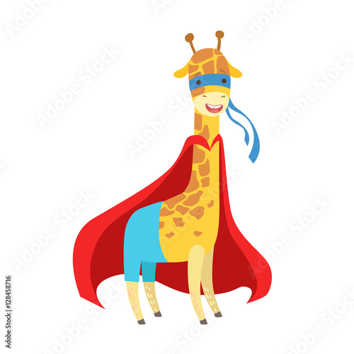 Giraffe Animal Dressed As Superhero With A Cape Comic Masked Vigilante Character Poster