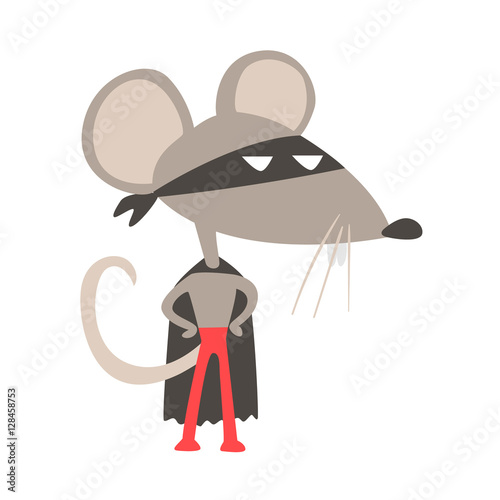 Rat Animal Dressed As Superhero With A Cape Comic Masked Vigilante Geometric Cha Fototapet