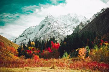 Panel Szklany Do salonu Autumn mountain landscape.