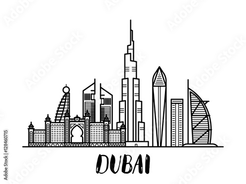 Vászonkép Dubai landscape line art illustration with modern lettering rectangular composit