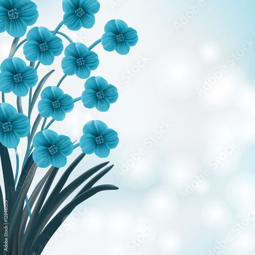 Poster Abstract bloemen Blue floral background