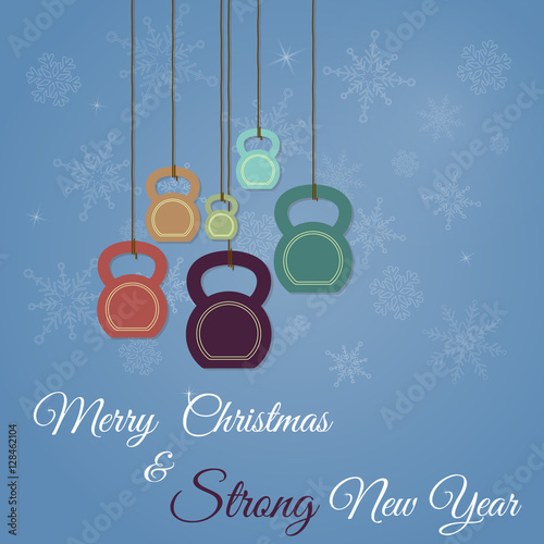 Fotografie, Obraz  Christmas and New Year greeting card with kettlebells
