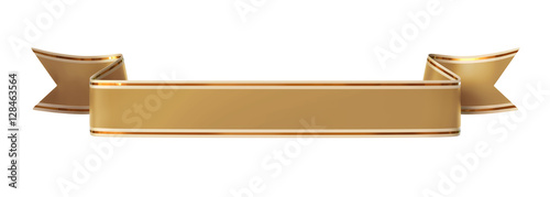 Curled golden ribbon banner with gold border - straight and wavy ends #128463564