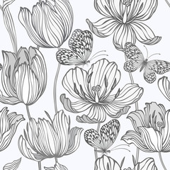Fototapetaseamless monochrome pattern with tulips and butterflies