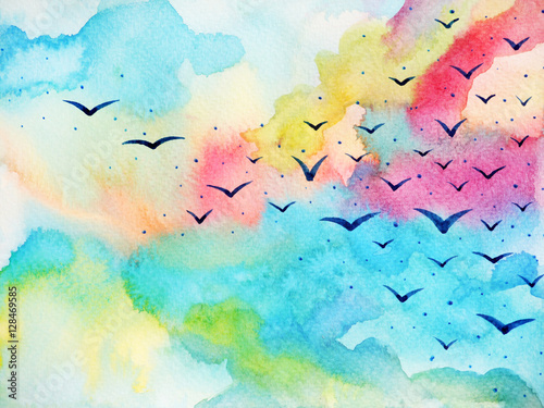 free birds flying on fresh sky watercolor painting illustration